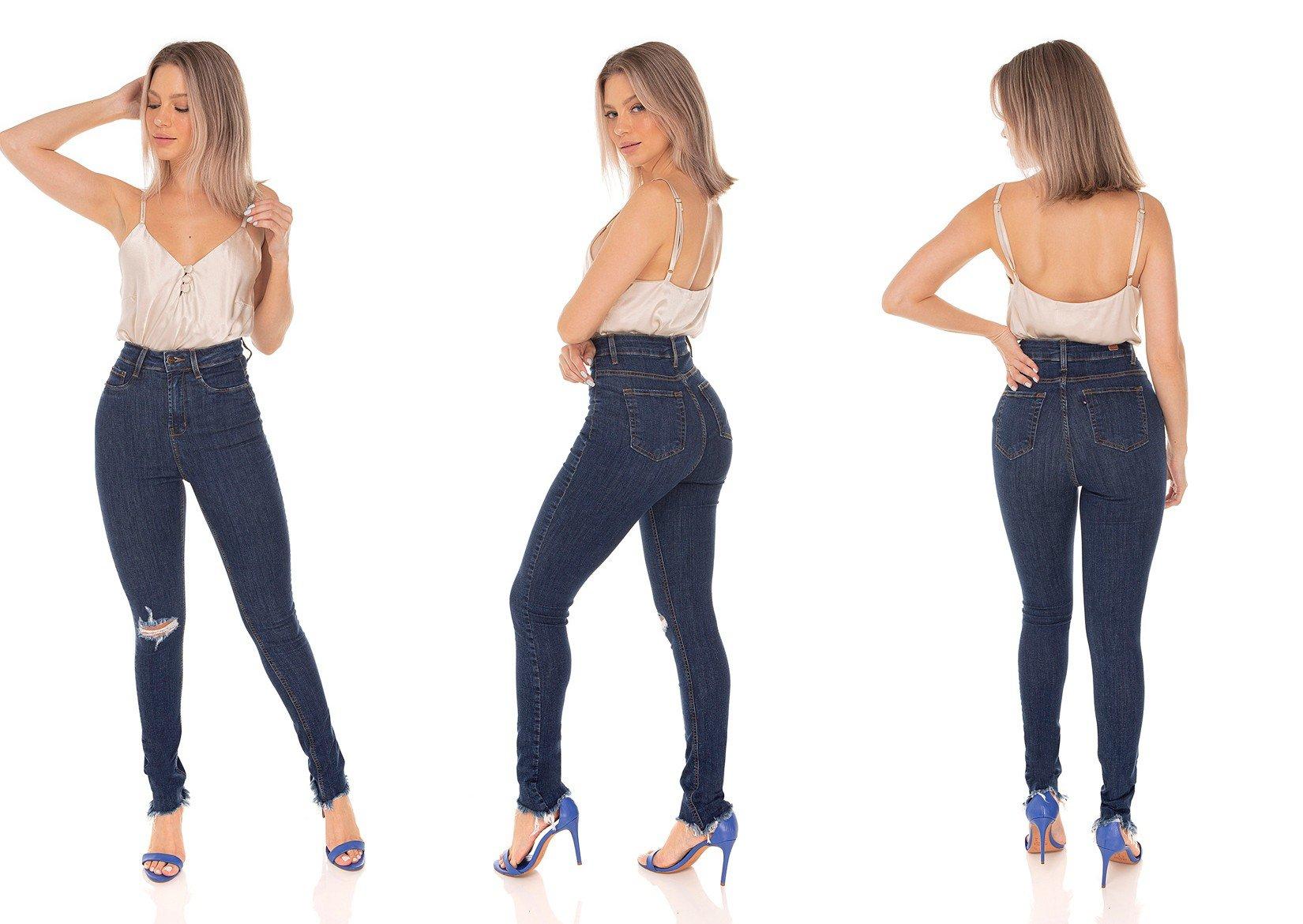 dz3585 calca jeans feminina skinny hot pants rasgo joelho denim zero tripla