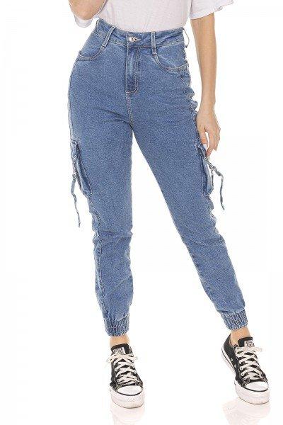 dz3586 calca jeans feminina mom fit bolsos utilitarios denim zero frente prox