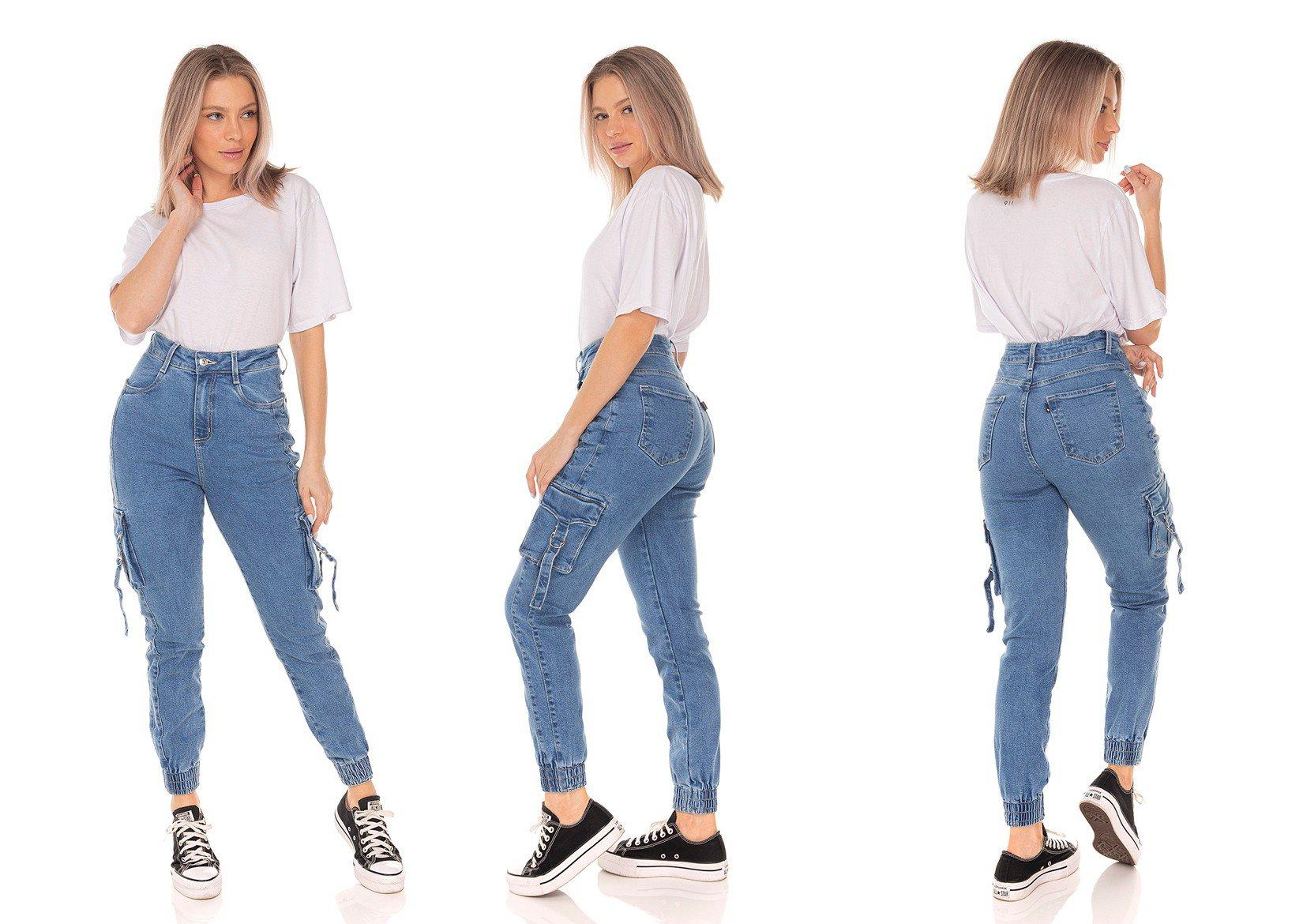 dz3586 calca jeans feminina mom fit bolsos utilitarios denim zero tripla