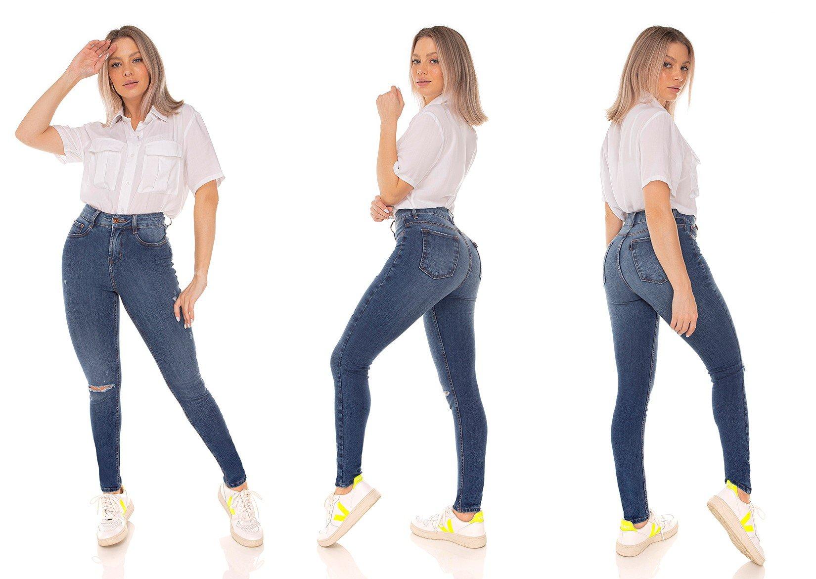 dz3592 calca jeans feminina skinny media cigarrete rasgo no joelho denim zero tripla