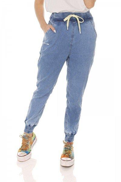 dz3611 calca jeans feminina jogger com cordao denim zero frente prox