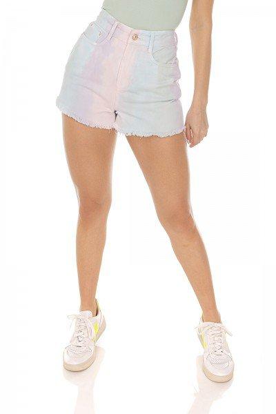 dz6457 shorts jeans feminino setentinha tie dye candy denim zero frente prox