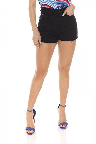 dz6428 shorts jeans feminino setentinha black and white preto denim zero frente prox