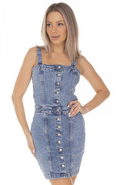 dz12086 vestido jeans feminino curto fechamento com botoes denim zero frente prox