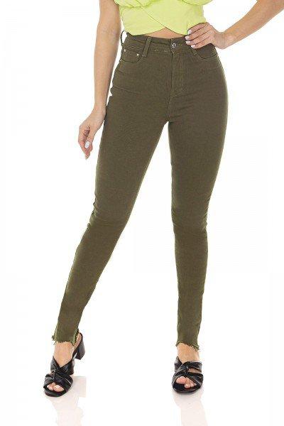 dz3554 calca jeans feminina skinny hot pants colorida verde aspargo denim zero frente prox