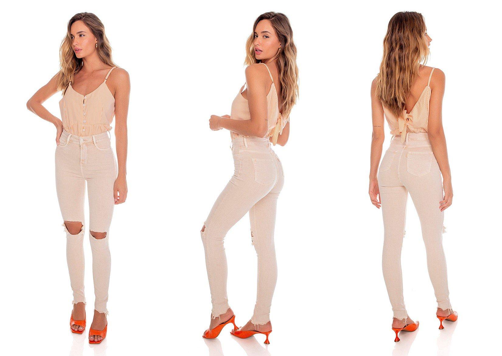 dz3573 re calca jeans feminina skinny hot pants colorida natural denim zero tripla
