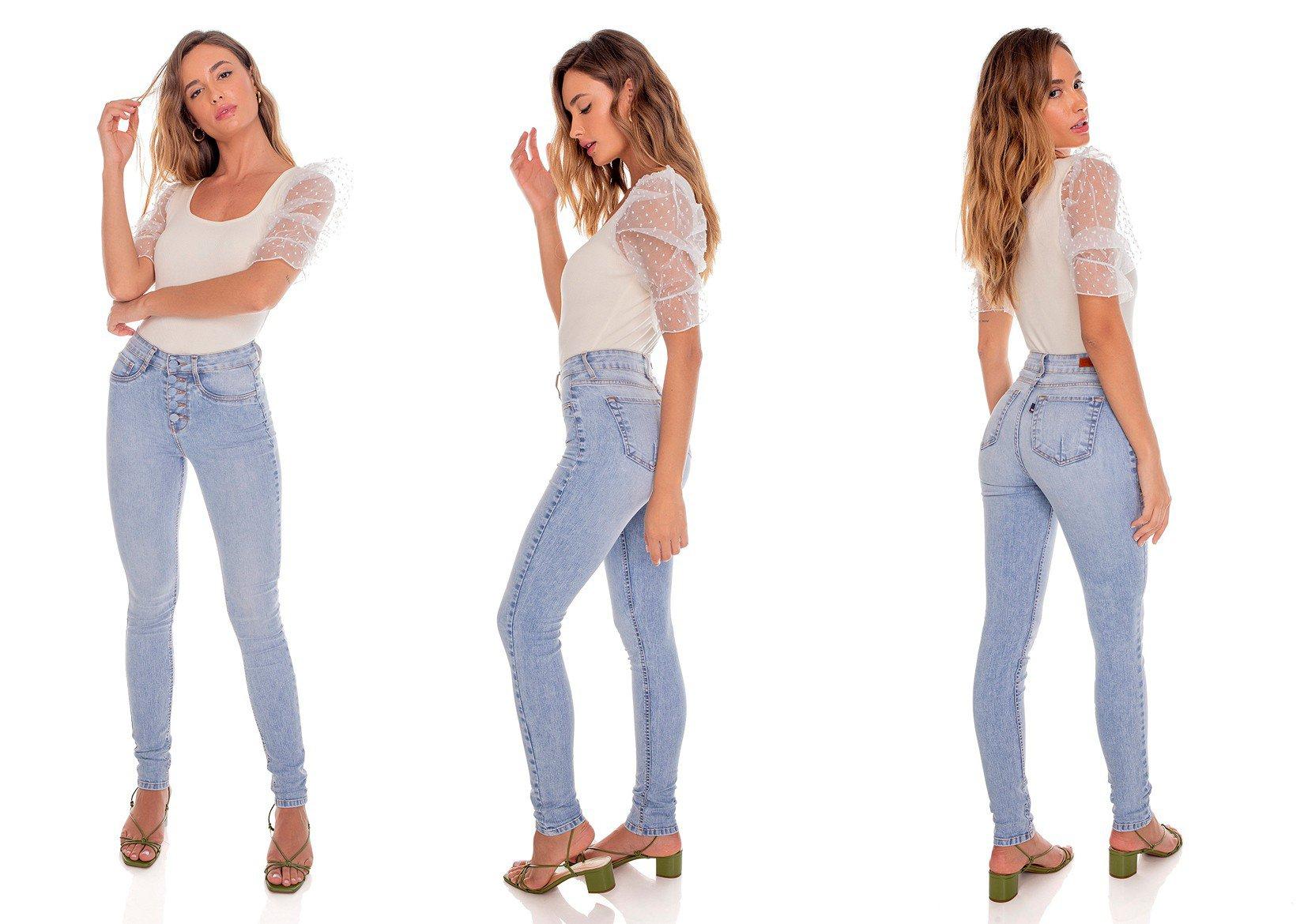 dz3595 re calca jeans feminina fechamento com botoes denim zero tripla