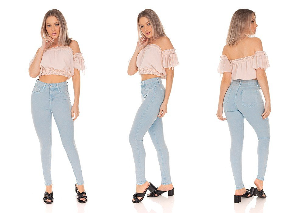 dz3309 calca jeans feminina skinny cigarrete colorida denim zero tripla