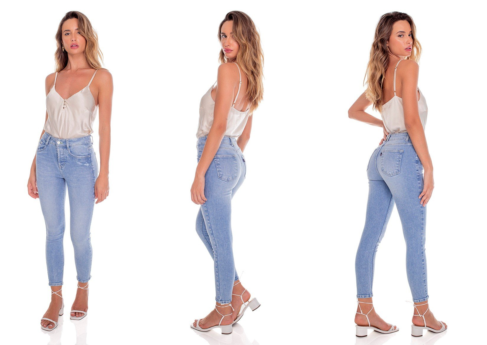 dz3608 re calca jeans feminina skinny media cropped fechamento de botoes denim zero tripla