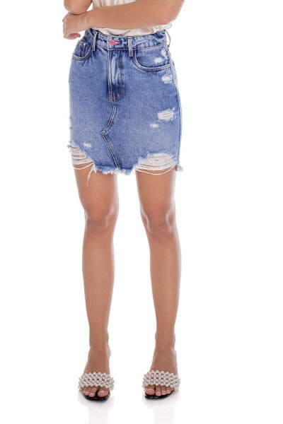 dz7185 alg saia jeans femina regular barra destroyed denim zero frente prox