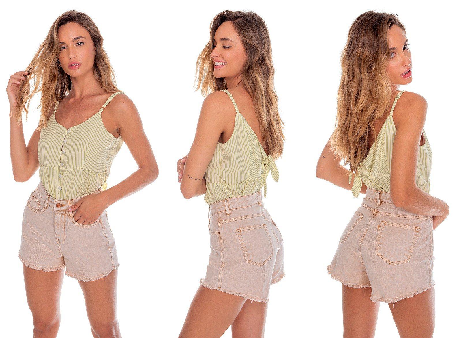 dz6453 alg shorts jeans feminino setentinha colorido caramelo denim zero tripla