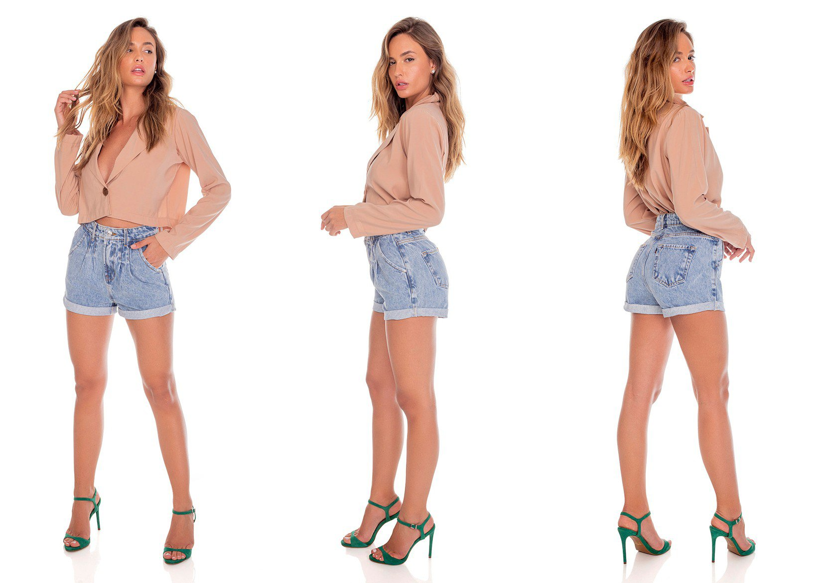 dz6443 alg shorts jeans feminino setentinha pences frontais denim zero tripla