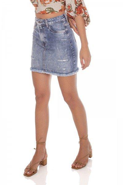 dz7186 com saia jeans feminina tubinho barra desfiada denim zero frente prox