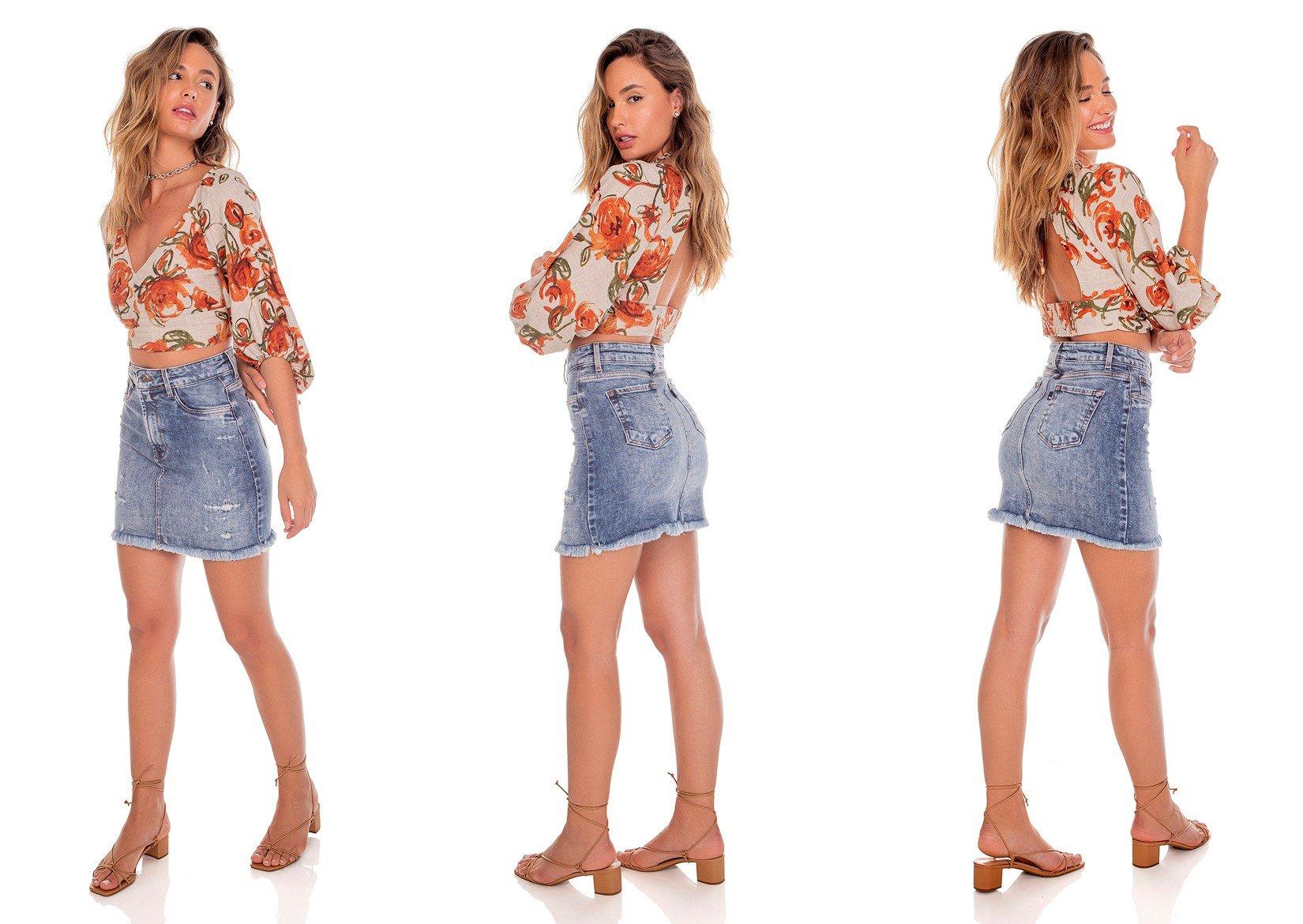 dz7186 com saia jeans feminina tubinho barra desfiada denim zero tripla