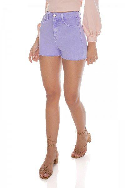 dz6456 re shorts jeans feminino pin up colorido new lilac denim zero frente prox 2