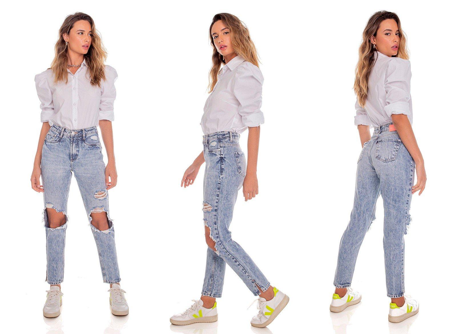 dz3612 alg calca jeans feminina mom destroyed denim zero tripla
