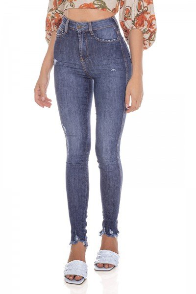 dz3623 com calca jeans feminina skinny hot pants barra irregular denim zero frente prox