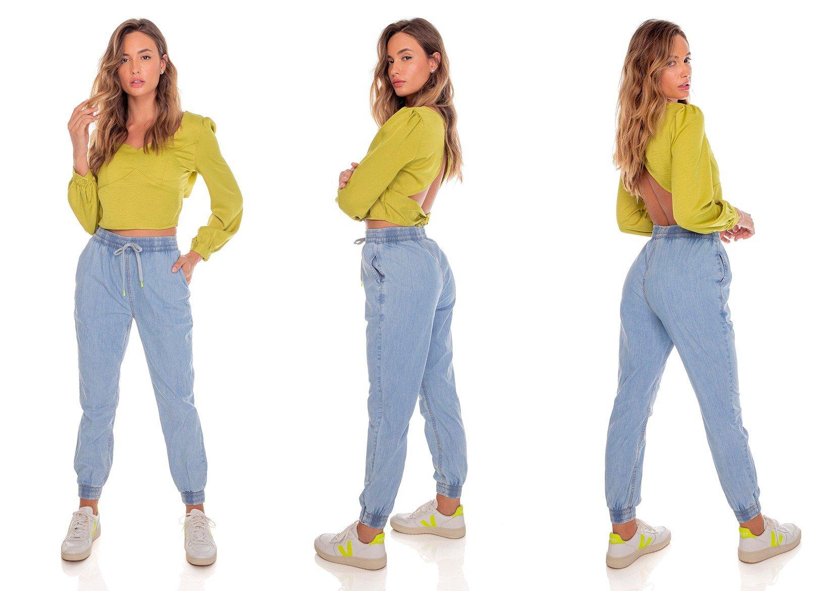dz3625 com calca jeans feminina jogger com cordao decorativo denim zero tripla