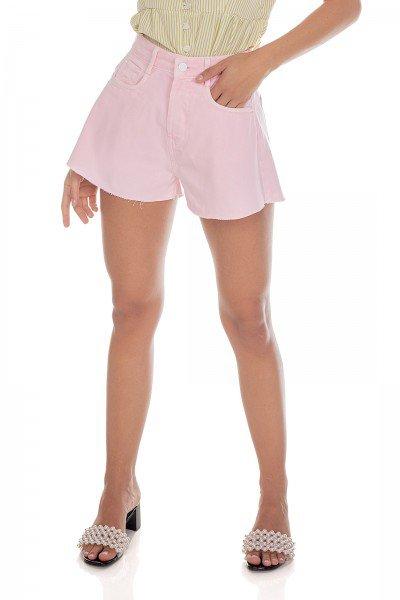 dz6471 alg shorts jeans feminino gode colorido rosa neon pastel denim zero frente prox