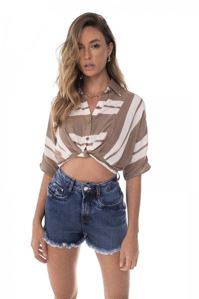 dz6461 com shorts jeans feminino setentinha fit barra desfiada denim zero frente