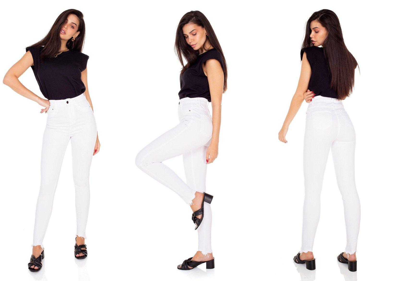 dz3553 calca jeans feminina skinny hot pants barra irregular black and white branca denim zero tripla