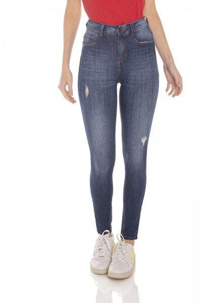dz3144 calca jeans feminina skinny media cigarrete com puidos denim zero frente prox