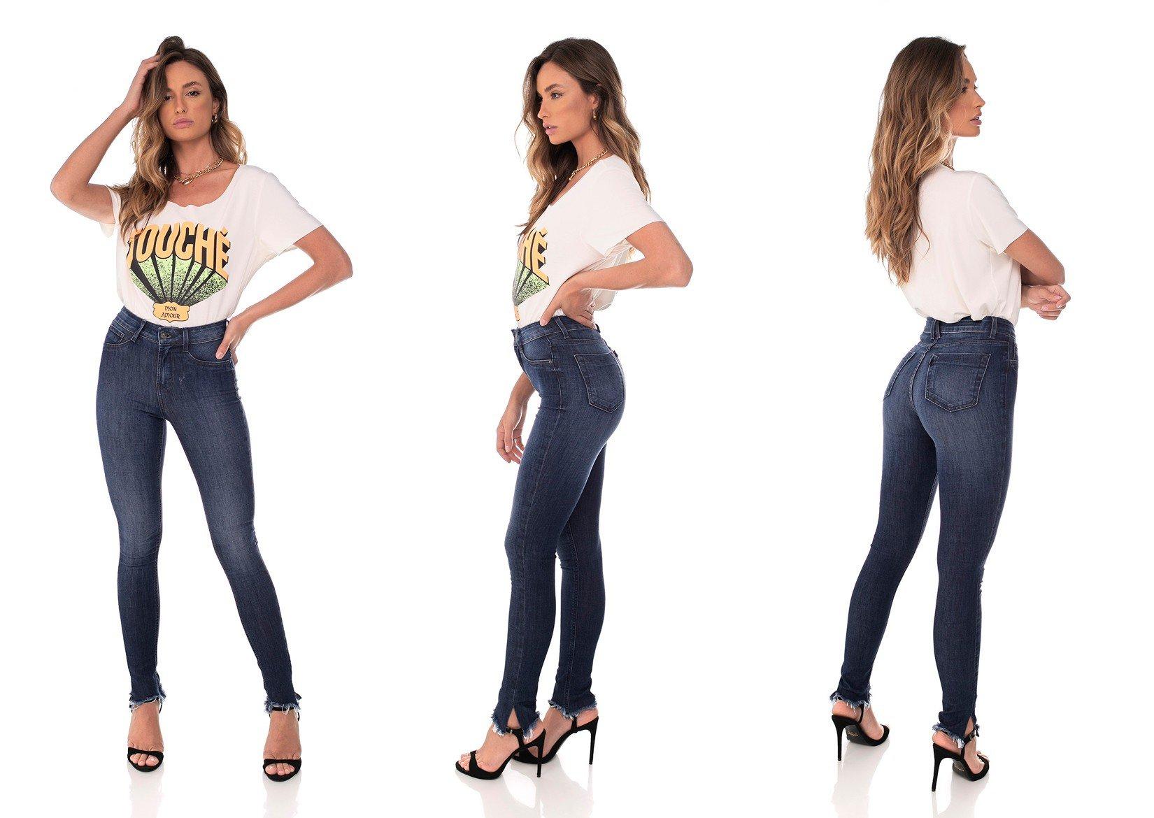 dz3635 com calca jeans feminina skinny media com fenda denim zero trio