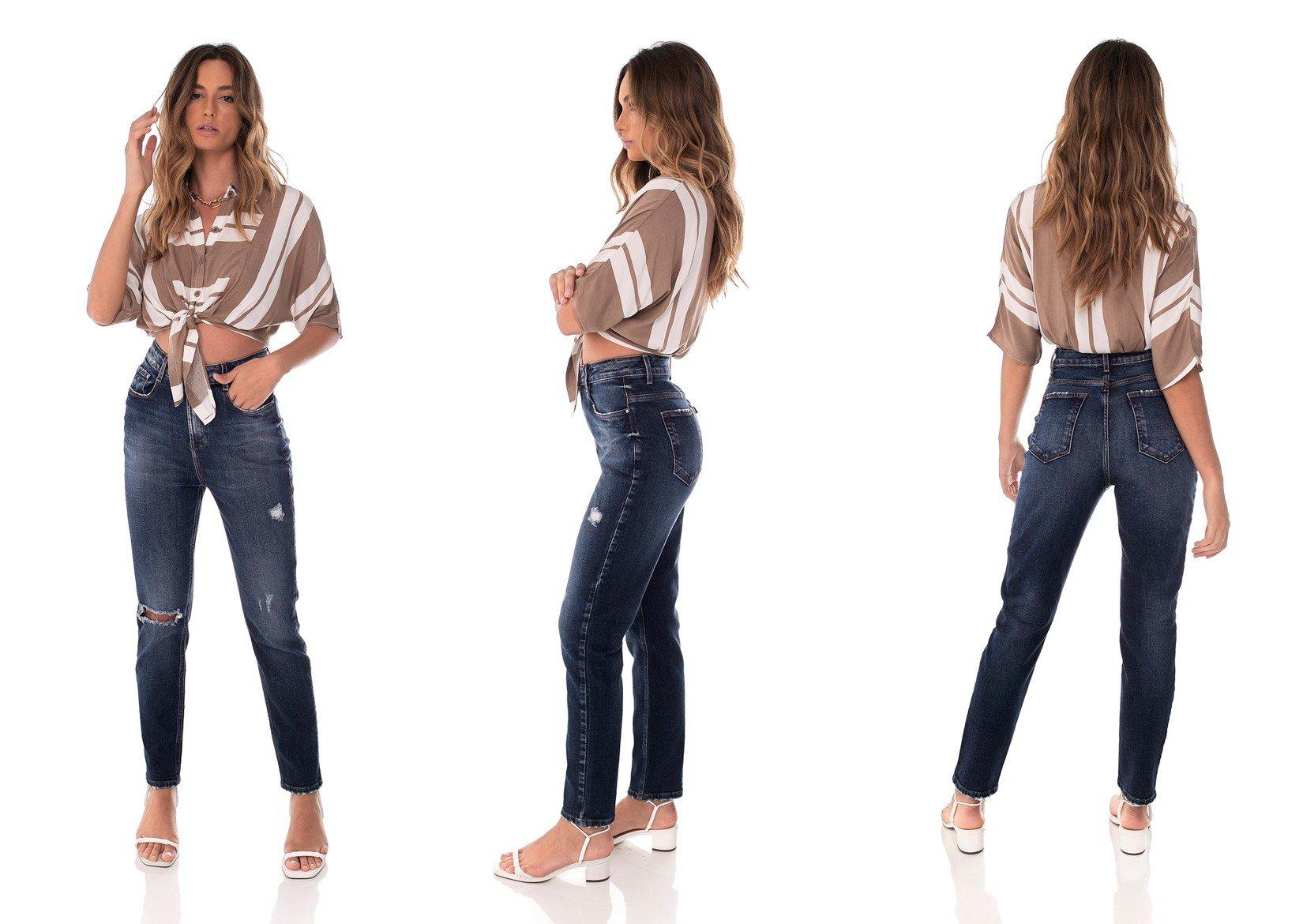 dz3637 com calca jeans feminina mom fit rasgo no joelho denim zero trio