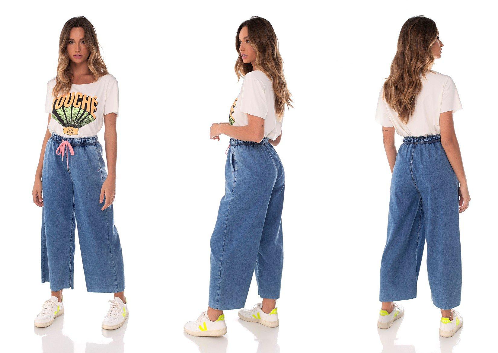 dz3638 com calca jeans feminina pantacourt fit denim zero trio