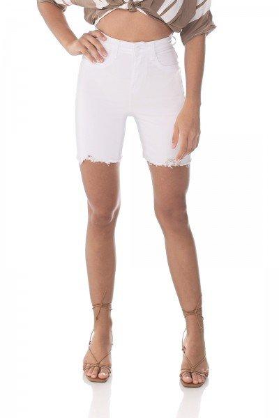 dz4044 com bermuda jeans feminina slim barra irregular branca denim zero frente prox