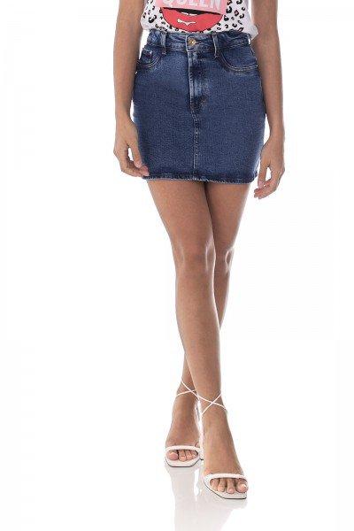 dz7192 com saia jeans feminina tubinho botao rosa denim zero frente prox 2