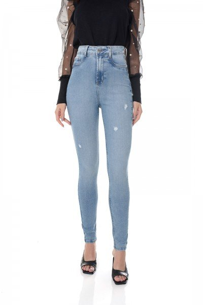 dz3655 re calca jeans feminina skinny hot pants cigarrete com puidos denim zero frente prox