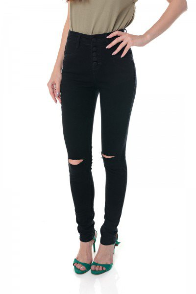 dz3696 re calca jeans feminina skinny media black and white com rasgo no joelho preta denim zero frente prox