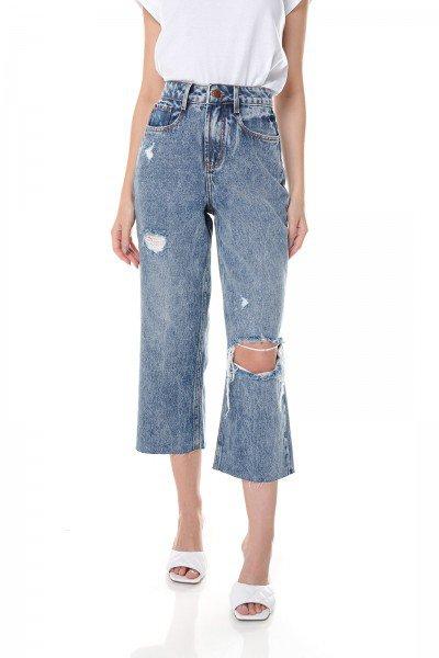 dz3661 alg calca jeans feminina wide leg com rasgo no joelho denim zero frente prox