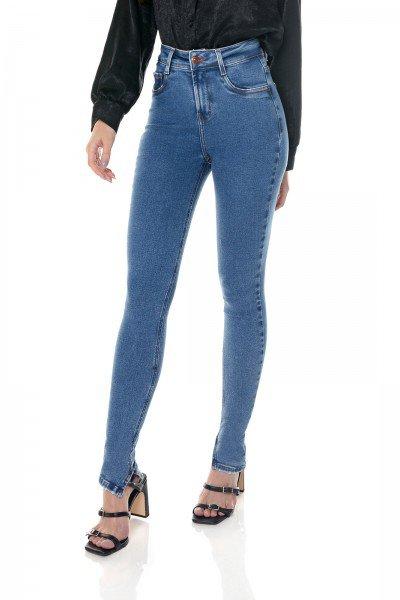 dz3647 com calca jeans feminina skinny media com abertura na barra denim zero frente prox