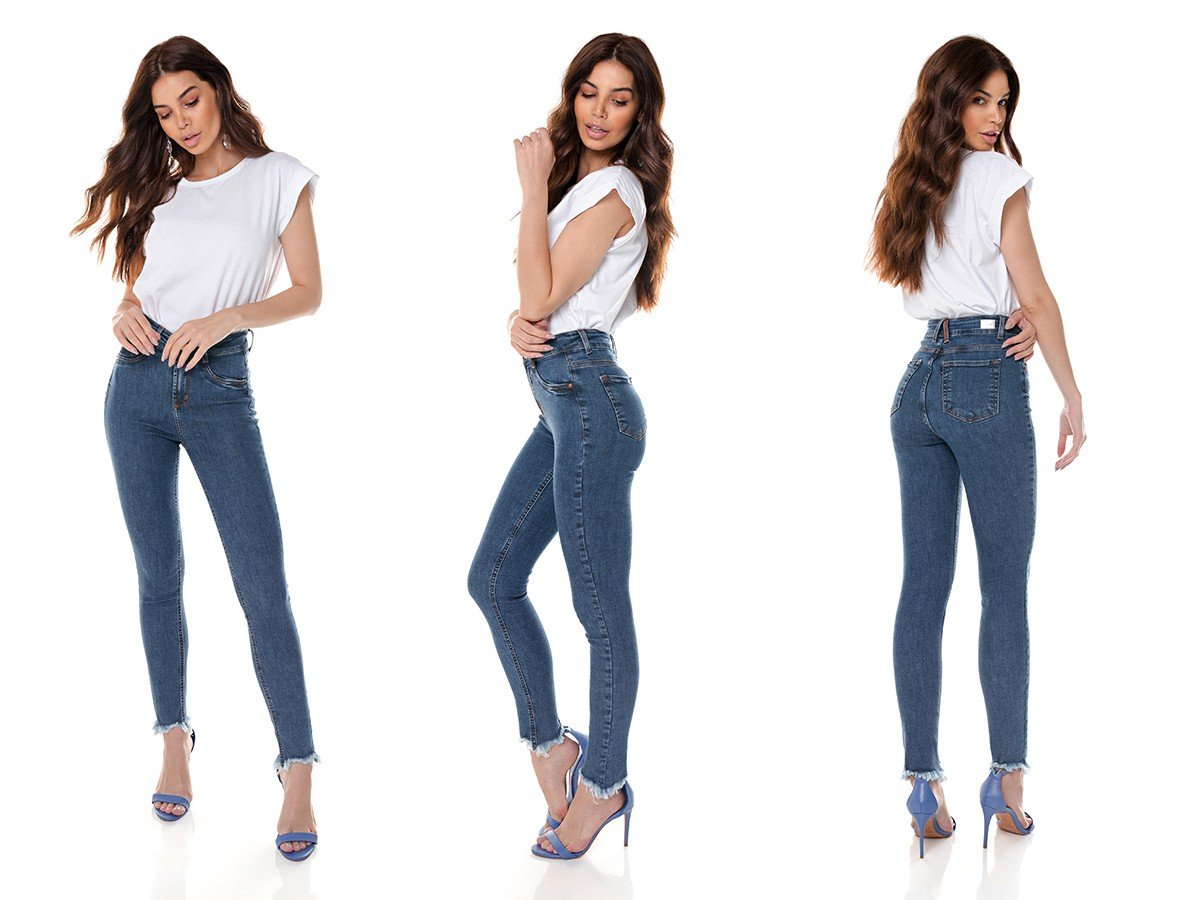dz3648 re calca jeans feminina skinny media cigarrete com barra irregular denim zero tripla