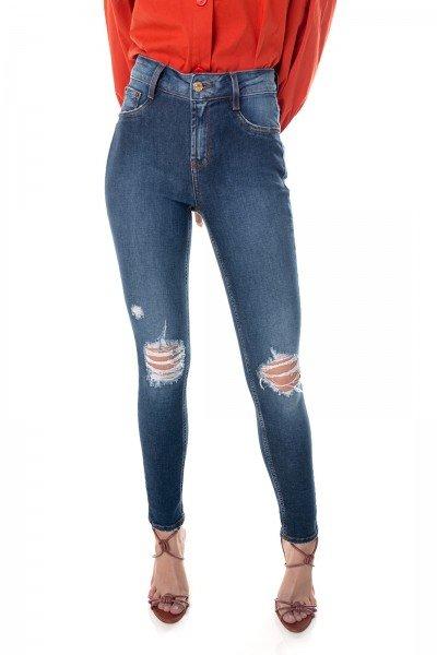 dz3649 com calca jeans feminina skinny media cigarrete com rasgos no joelho denim zero frente prox