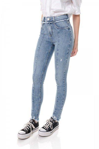 dz3652 com calca jeans feminina skinny media cigarrete com recorte frontal denim zero frente prox