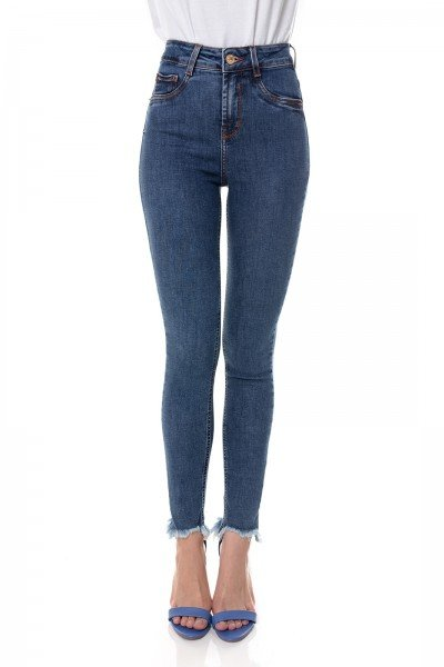 dz3648 re calca jeans feminina skinny media cigarrete com barra irregular denim zero frente prox