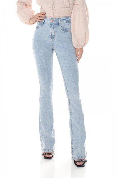 dz3656 com calca jeans feminina flare media clarinha denim zero frente prox