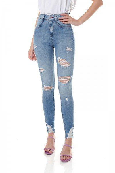 dz3698 com calca jeans feminina skinny media cigarrete destroyed denim zero frente prox