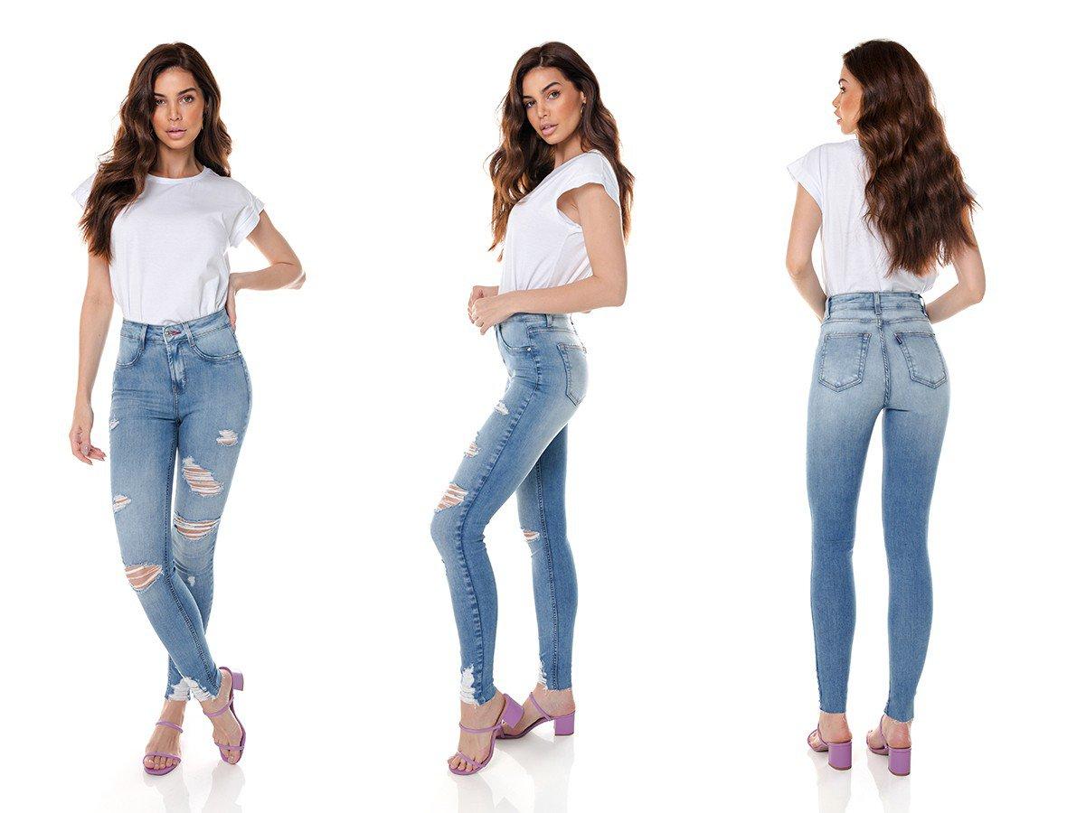 dz3698 com calca jeans feminina skinny media cigarrete destroyed denim zero tripla
