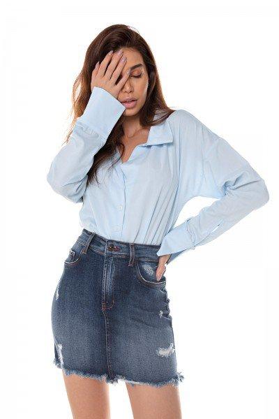 dz7195 com saia jeans feminina tubinho com puidos denim zero frente prox