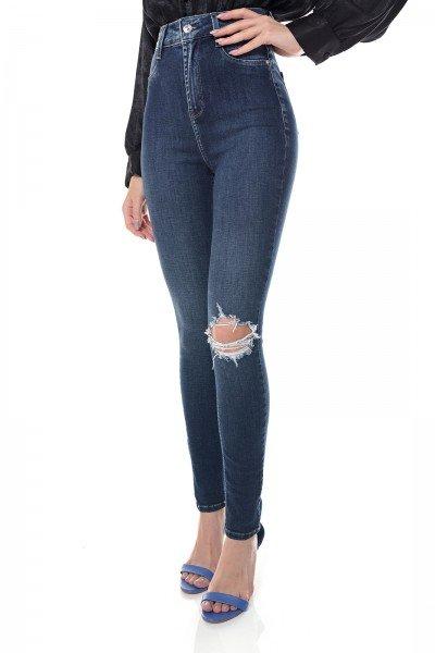 dz3654 com calca jeans feminina skinny hot pants com rasgo no joelho denim zero frente prox