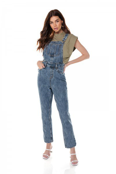 dz8049 jardineira jeans feminina mom denim zero frente