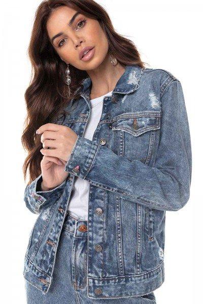 dz9127 alg jaqueta jeans feminina regular com puidos denim zero frente prox