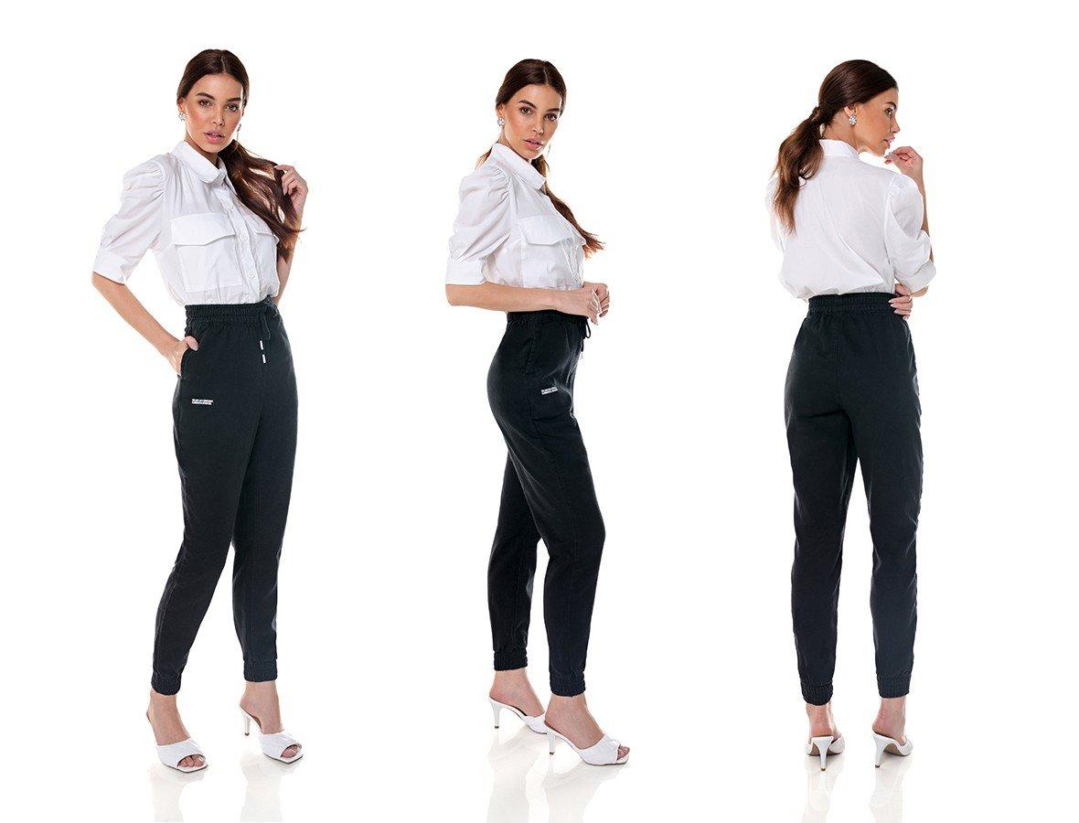 dz3658 com calca jeans feminina jogger black and white preta denim zero trio