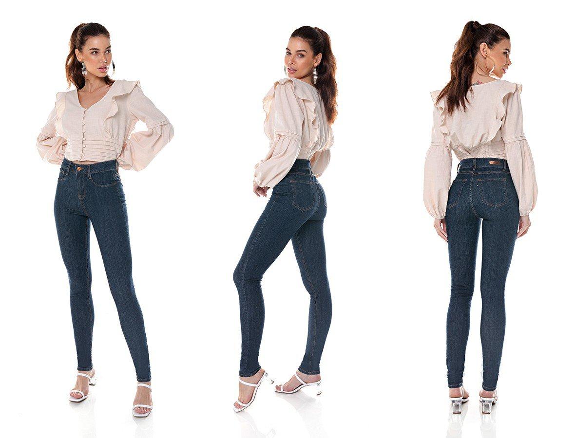 dz3704 com calca jeans feminina skinny media escura denim zero tripla