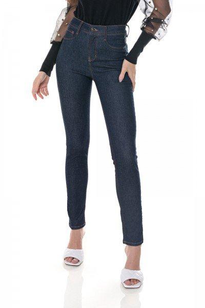dz3702 re calca jeans feminina skinny media cigarrete escura denim zero frente prox