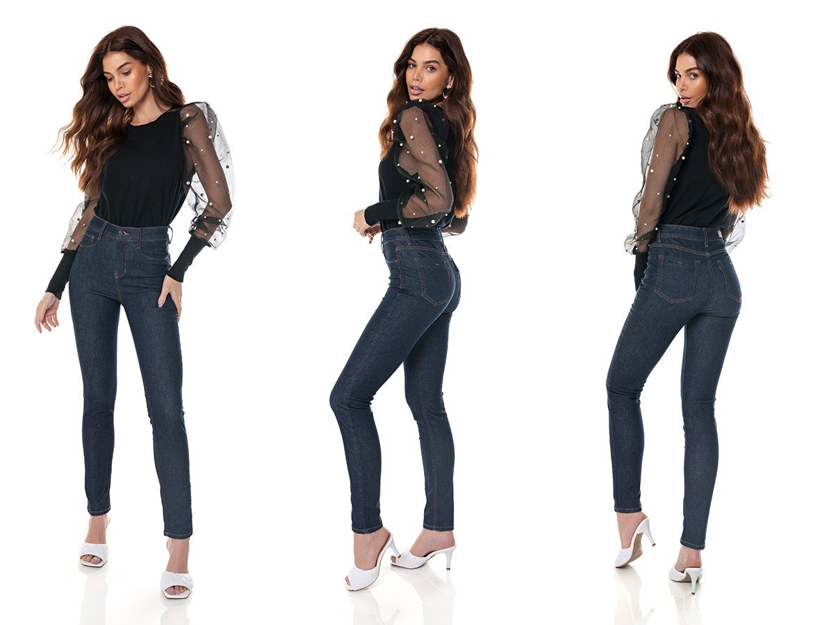 dz3702 re calca jeans feminina skinny media cigarrete escura denim zero trio